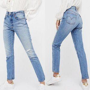 Levi's 501 Distressed High Rise Skinny Denim Jeans